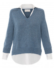Blue Sweater with White Underlayer