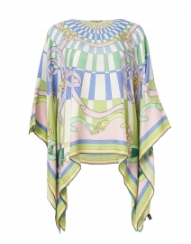 Firenze Green and Blue Cashmere Poncho