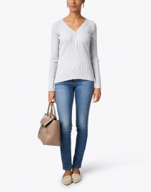 Kinross - Grey Cotton Cashmere Ribbed Top