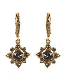 Gold Grey Crystal Encrusted Star Drop Earrings
