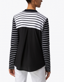 Marc Cain - Navy and White Striped Cotton Cardigan