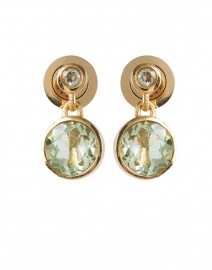 Green Amethyst Gold Drop Earrings
