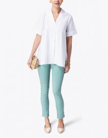 Hinson Wu - Betty White Short Sleeve Button Down Stretch Cotton Shirt