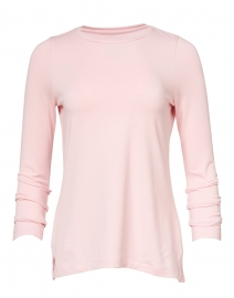 Pale Pink Pima Cotton Ruched Sleeve Tee