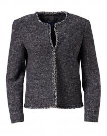 Delfino Navy Cotton Tweed Short Jacket