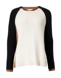 Triple Ivory, Camel and Black Cotton Sweater