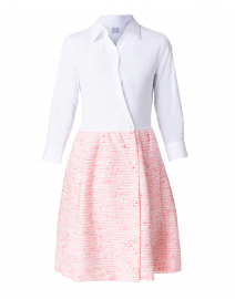 Hela White Poplin and Pink Tweed Shirt Dress