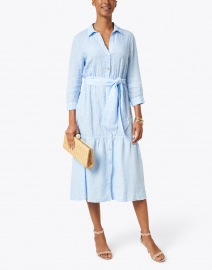 120% Lino - Waterfall Blue Sequin Shirt Dress
