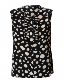 Black and White Animal Print Silk Top