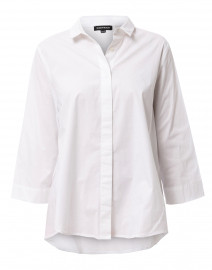 White Stretch Cotton Button Down Shirt