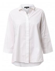 White Stretch Cotton Button Down Shirt