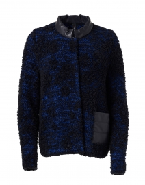 Black and Blue Wool and Faux Leather Jacket