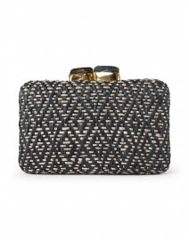 Cleo Black and Natural Geometric Woven Straw Clutch