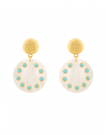 Turquoise, Mother of Pearl and Gold Disc Drop Earrings