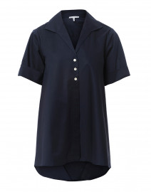 Betty Navy Short Sleeve Button Down Stretch Cotton Shirt