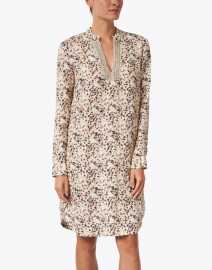120% Lino - Brown Leopard Print Embellished Linen Dress