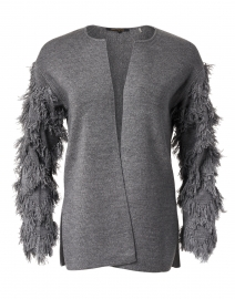Chace Grey Wool Fringed Cardigan
