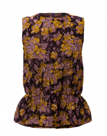 Purple and Gold Jacquard Peplum Top