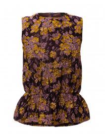 Purple and Gold Jacquard Peplum Top