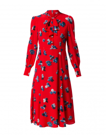 Mortimer Red Floral Silk Dress