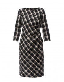 Fiorina Black and Beige Plaid Stretch Wool Dress
