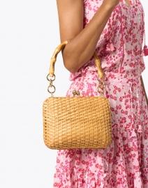 SERPUI - Giulia Light Honey Wicker Top Handle Bag