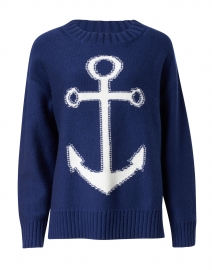 Navy and White Anchor Intarsia Sweater