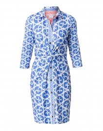 Blue and White Gate Printed Twist Front Dress