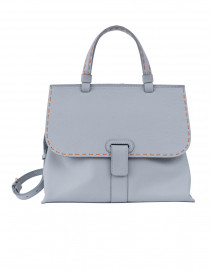 Orleans Pale Blue Pebbled Leather Tote Handbag