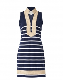 Navy and White Striped Ponte Tunic Dress
