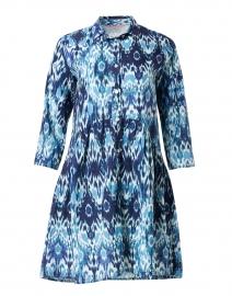 Deauville Blue Ikat Print Shirt Dress