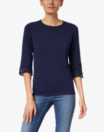 Kinross - Navy Pima Cotton Crochet Cuff Top