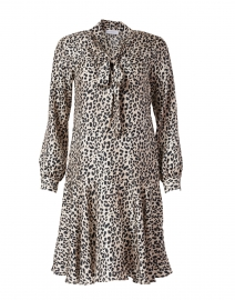 Black and Beige Animal Print Silk Dress