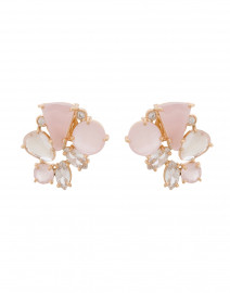 Pink Chalcedony and Crystal Cluster Clip On Earrings