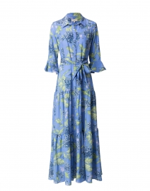 Nalini Cornflower Blue Printed Silk Shirt Dress
