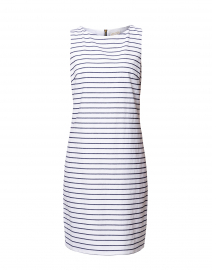 White and Navy Striped Sleeveless Stretch Cotton Dress