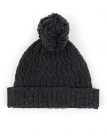 Charcoal Cable Pompom Cashmere Hat