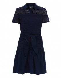 Allery Navy Eyelet Cotton Dress