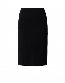 Navy Knit Pencil Skirt with Lurex Trim