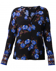Andes Black and Blue Floral Silk Blouse