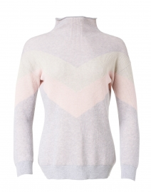 Silver and Pink V-Striped Pima Cotton Sweater