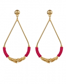 Gas Bijoux - Gold and Pink Raffia Drop Earring