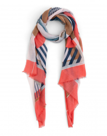 Coral and Blue Vernazza Silk and Cashmere Scarf