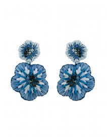 Rae Blue Flower Beaded Raffia Drop Earrings