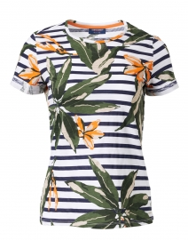 Liliane White and Navy Floral Printed Cotton Top