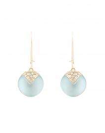 Ocean Blue Crystal Origami Dangling Sphere Earrings