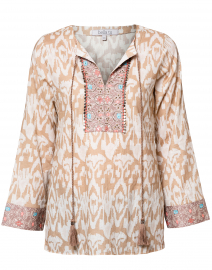 Ikat Sand Embroidered Cotton Tunic