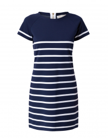Navy and White Striped Ponte Dress