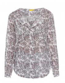 Flora Brania White and Pink Rose Printed Top