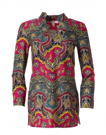 Chris Red and Green Medina Paisley Printed Nylon Top